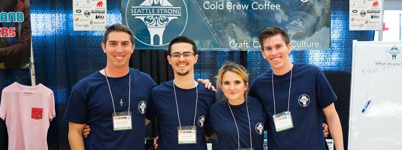The Seattle Strong Coffee team from left: Brian Wipfler, BA Business administration '18; Evan Oeflein, BA Business Administration '18; Emileigh A. Thylin, master's in Entrepreneurship '18; and Colin Evans, master's in Computer Science In Progress